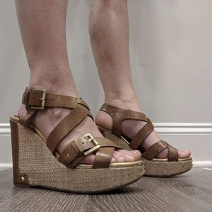 Audrey Brooke Tan Strappy espadrille wedges